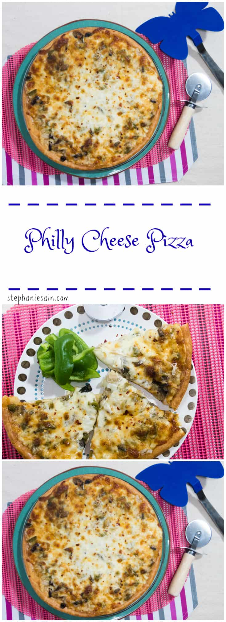 Philly Cheese Pizza is a tasty, easy to prepare pizza inspired by the flavors of a Philly sub. Vegetarian and Gluten Free.