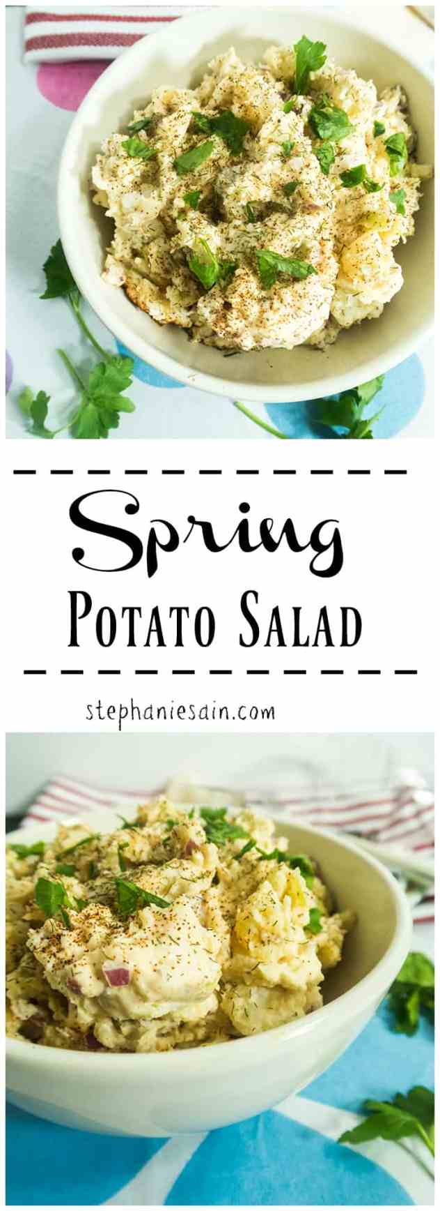 Spring Potato Salad is the perfect easy to prepare salad only requiring a few ingredients. Great for cookouts and gatherings. Vegetarian and Gluten Free.