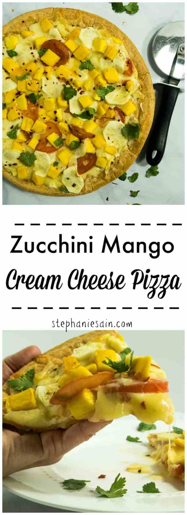 Zucchini Mango Cream Cheese Pizza is topped with cream cheese and loaded with zucchini and mango for a tasty fun way to switch up Pizza night! Vegetarian & Gluten Free.