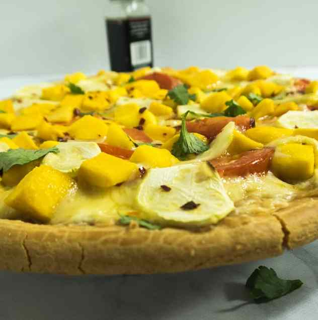 Zucchini Mango Cream Cheese Pizza