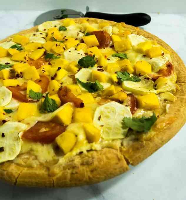 Zucchini Mango Cream Cheese Pizza