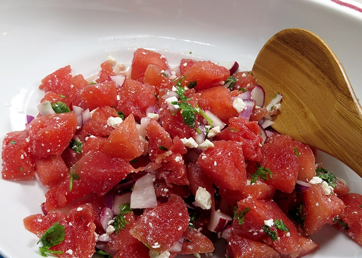 Watermelon Radish Feta Salad