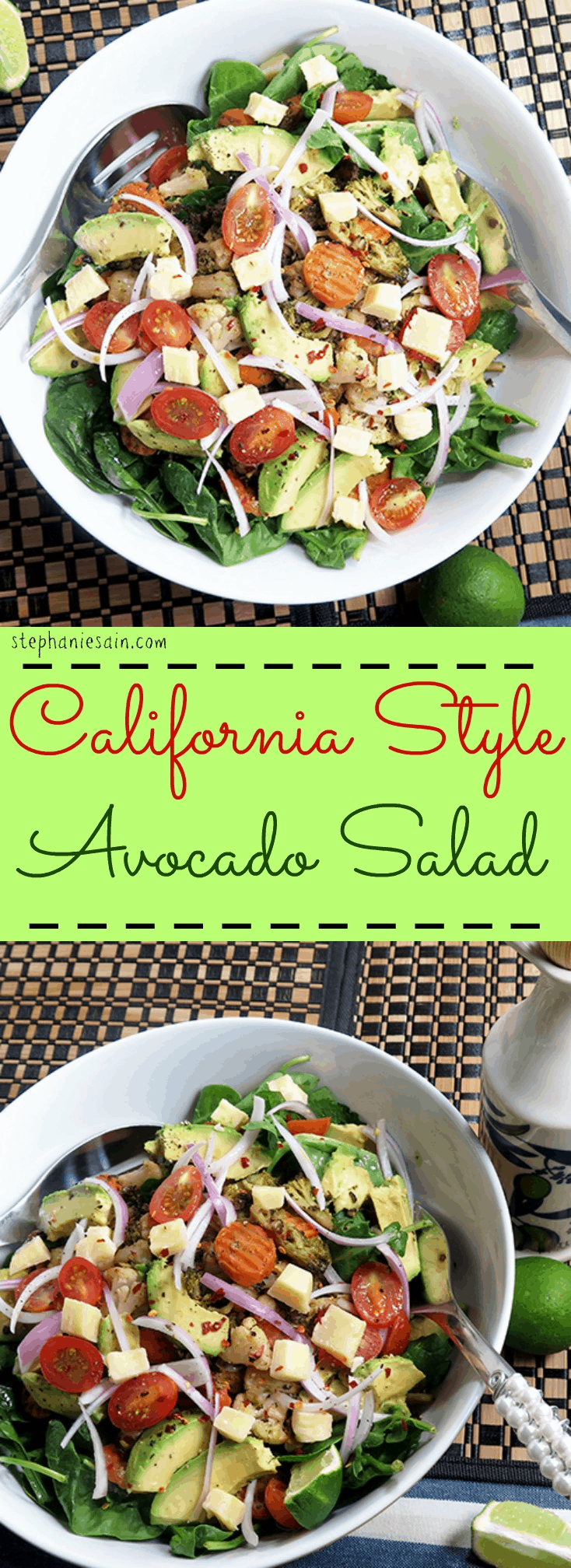 California Style Avocado Salad is the perfect, healthy one bowl meal. Vegetarian and Gluten Free.