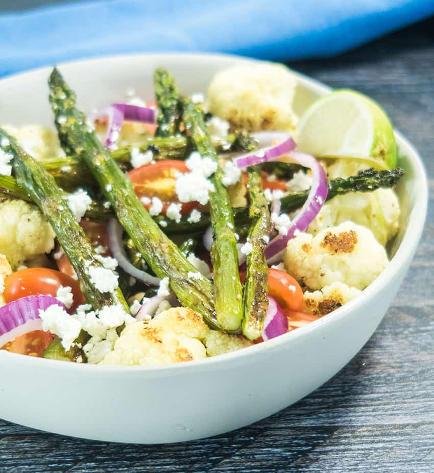 Roasted Asparagus Cauliflower Salad (Gluten Free)
