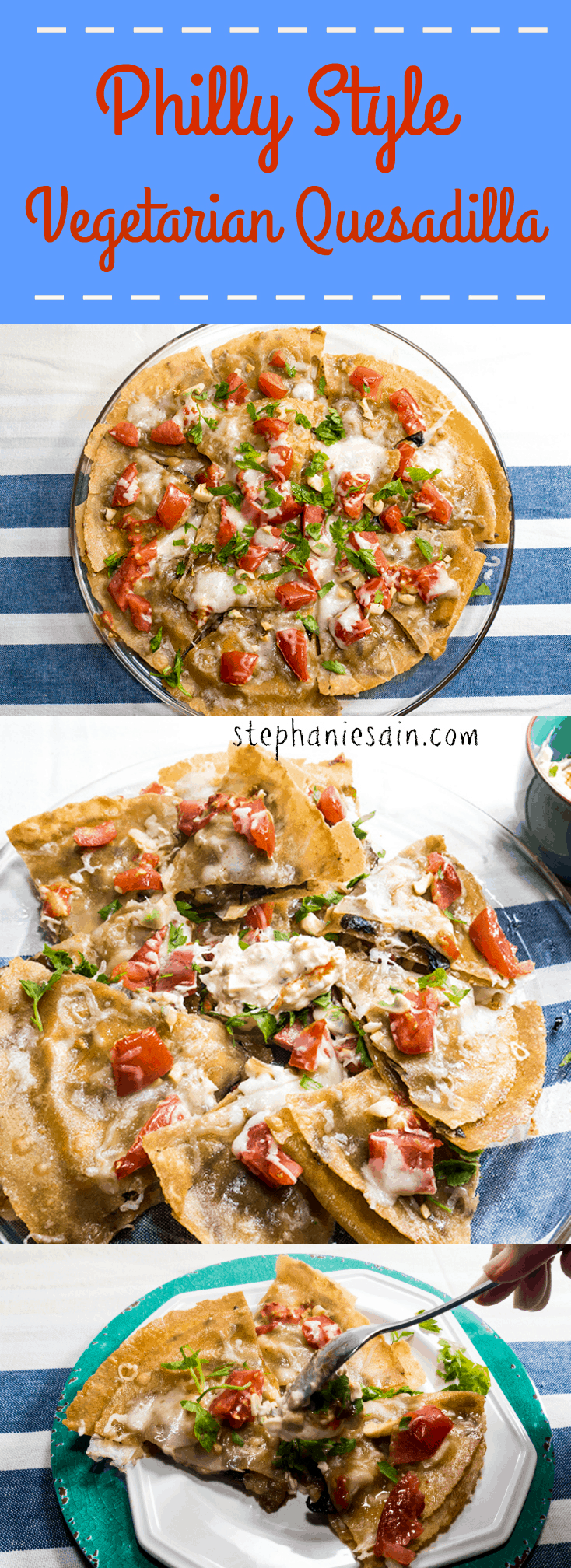 Philly Style Vegetarian Quesadilla is a easy, tasty to prepare appetizer that is gluten free. It can also serve as a tasty dinner for two.