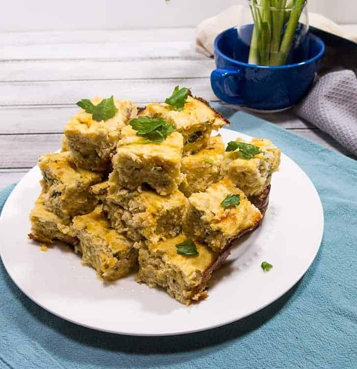Cauliflower Cheddar Protein Squares