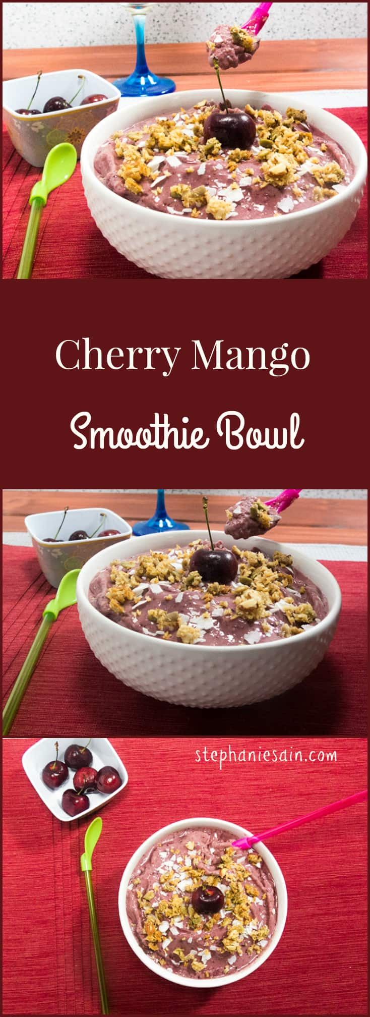 Cherry Mango Smoothie Bowl is packed with cherries and mangos for the perfect breakfast or snack. Toppings customizable.