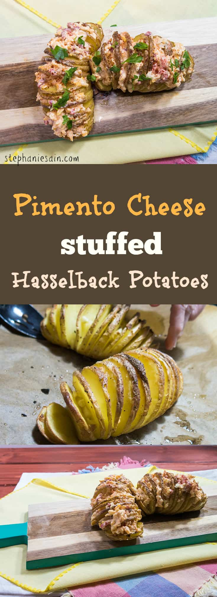 Pimento Cheese Stuffed Hasselback Potatoes are a tasty side dish or also great served as an appetizer. Vegetarian and Gluten Free.