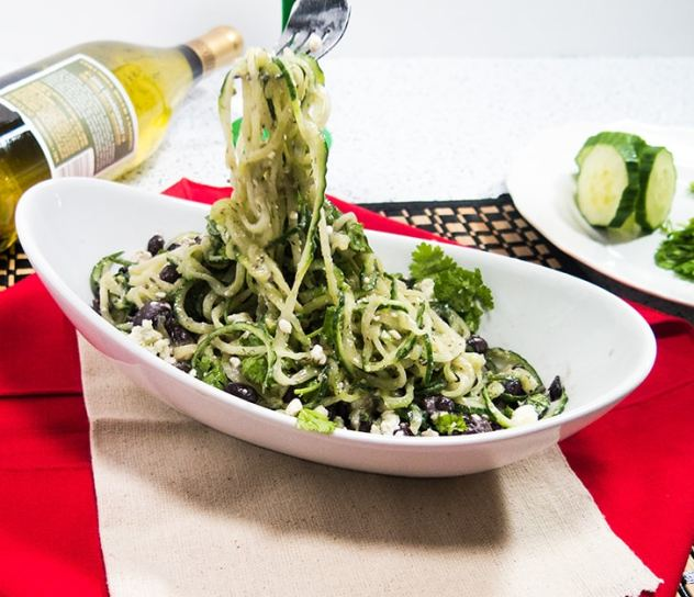 Spiralized Cucumber Black Bean Salad