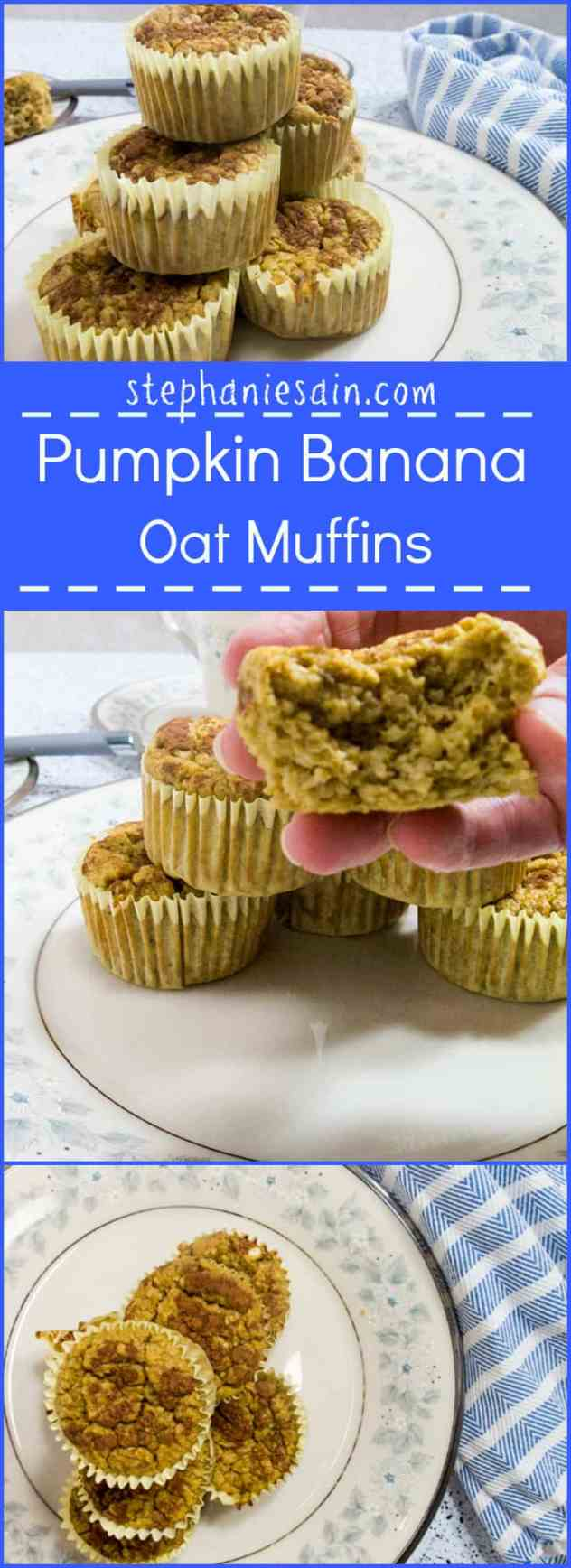 Pumpkin Banana Oat Muffins are the perfect, tasty, healthy muffins for breakfast or snack. No refined sugars, Vegetarian and Gluten Free.