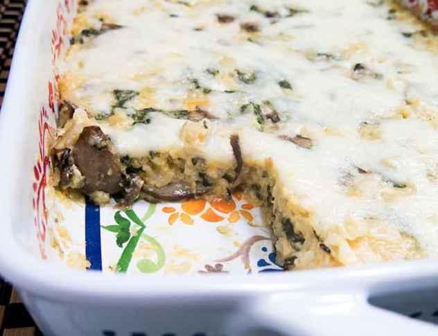 Spinach Mushroom Cheesy Rice Casserole