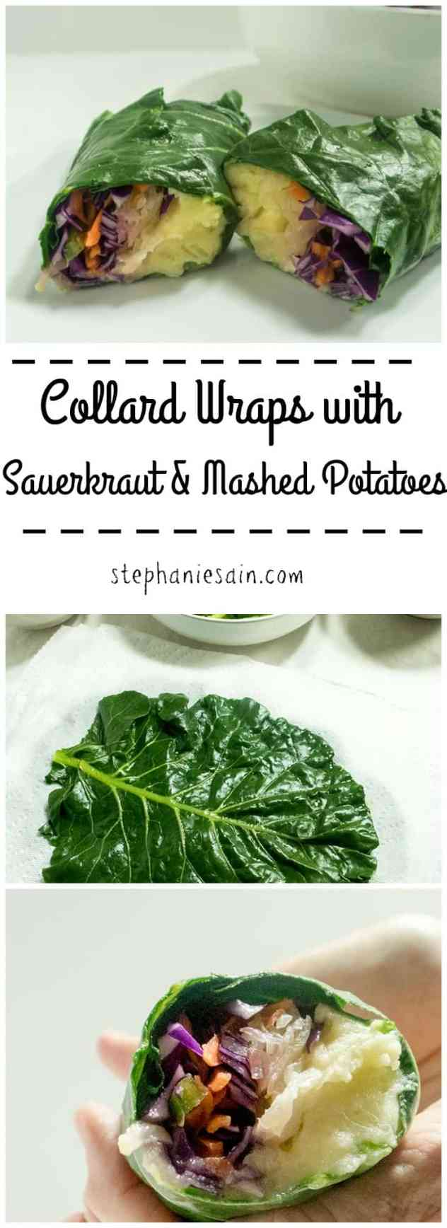 Collard Wraps with Sauerkraut & Mashed Potatoes are an easy, healthy, tasty meal that can be customized with any of your favorite fillings. Vegetarian, Gluten Free, & Vegan option.
