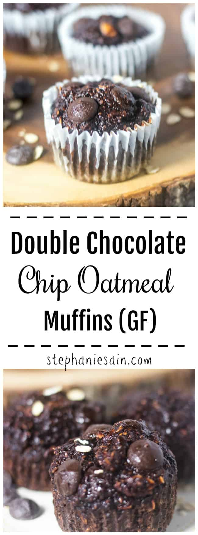 These Chocolate Muffins are jam packed with chocolate chips and oatmeal. A healthier muffin made with simple ingredients that's perfect for breakfast, snacking or dessert. Gluten Free and No Added Refined Sugars.