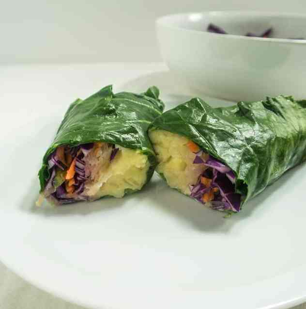 Collard Wraps with Sauerkraut and Mashed Potatoes