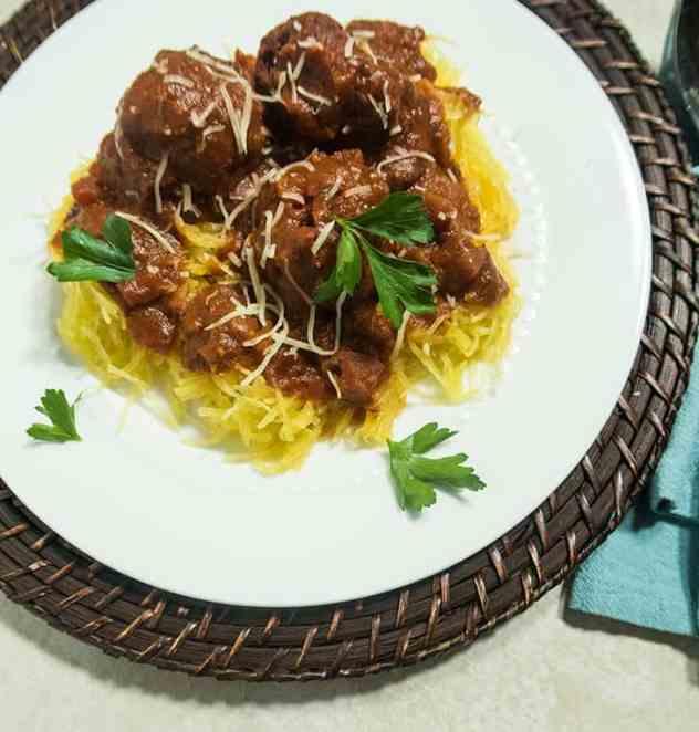 Spaghetti Squash with Black Bean Meatballs