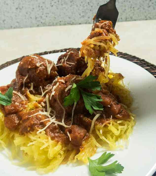 Spaghetti Squash with Black Bean Meatballs