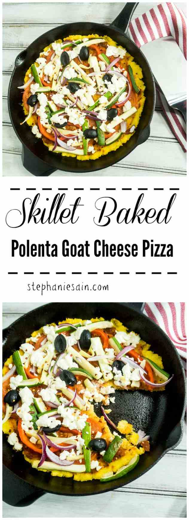 Skillet Baked Polenta Goat Cheese Pizza is a great way to switch up Pizza night and make a fun easy dinner. Toppings can be customzied. Gluten free, vegetarian, and vegan option available depending on toppings.