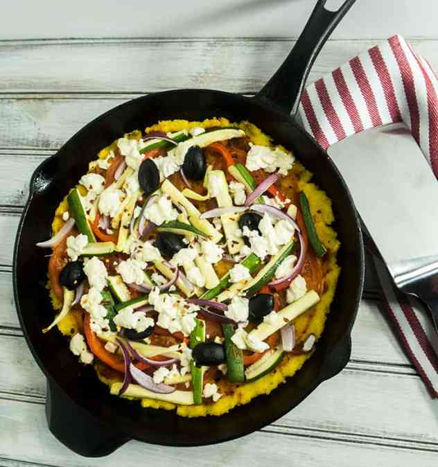 Skillet Baked Polenta Goat Cheese Pizza