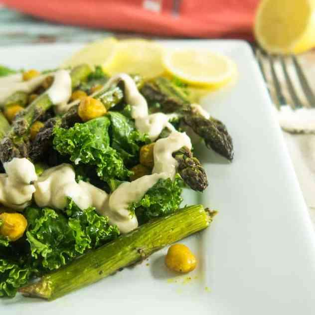 Asparagus Chickpea Salad with Tahini Dressing
