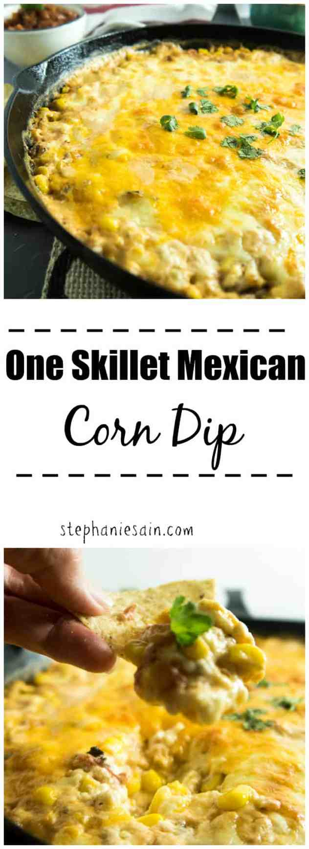 One Skillet Mexican Corn Dip is a tasty one pan appetizer or dinner that is loaded with corn and a creamy cheesy goodness. Vegetarian & Gluten Free.