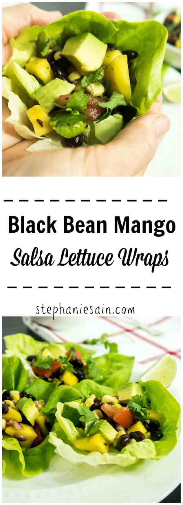 Black Bean Mango Salsa Lettuce Wraps are the perfect go to lunch or dinner for the warmer months. No stove required, fun, and family friendly. Vegan & Gluten Free.