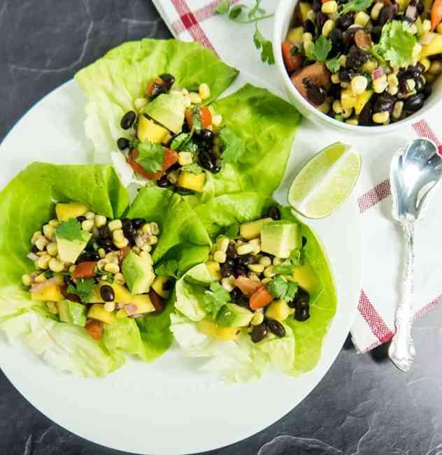Black Bean Mango Salsa Lettuce Wraps