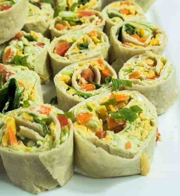 Chunky Avocado Cream Cheese Pinwheels