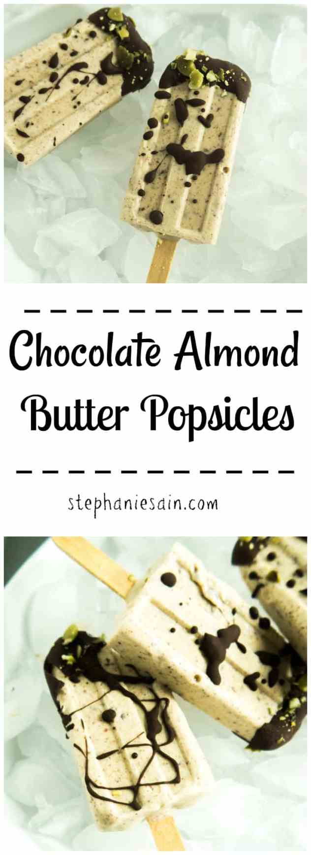 Chocolate Almond Butter Popsicles are only four ingredients for a tasty, healthyish way to cool off this summer. Gluten free & Vegan option.
