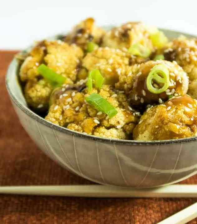 Sticky Sesame Cauliflower Bites