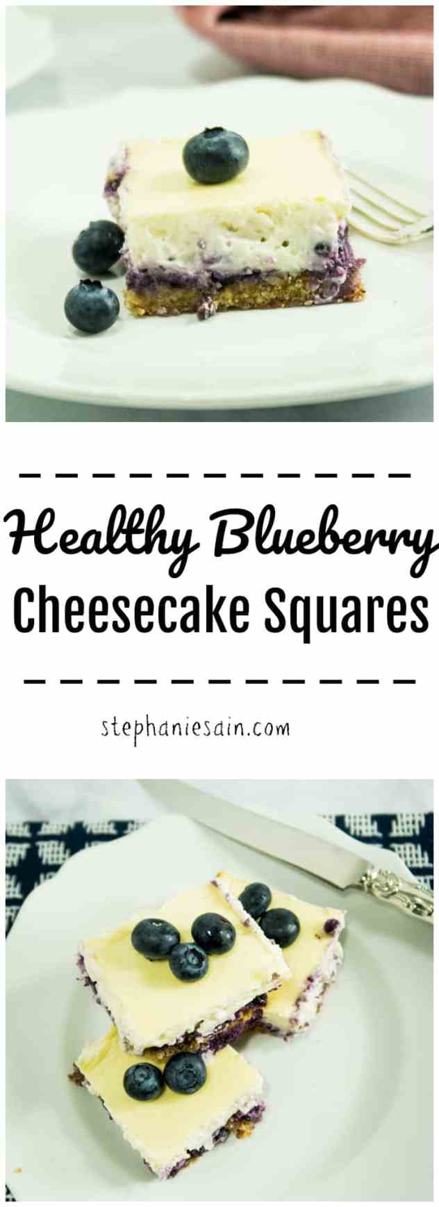 Healthy Blueberry Cheesecake Squares are the perfect little tasty bite sized treat. Lightened up and naturally sweetened for a treat you can feel good about eating. Gluten Free & Vegetarian.
