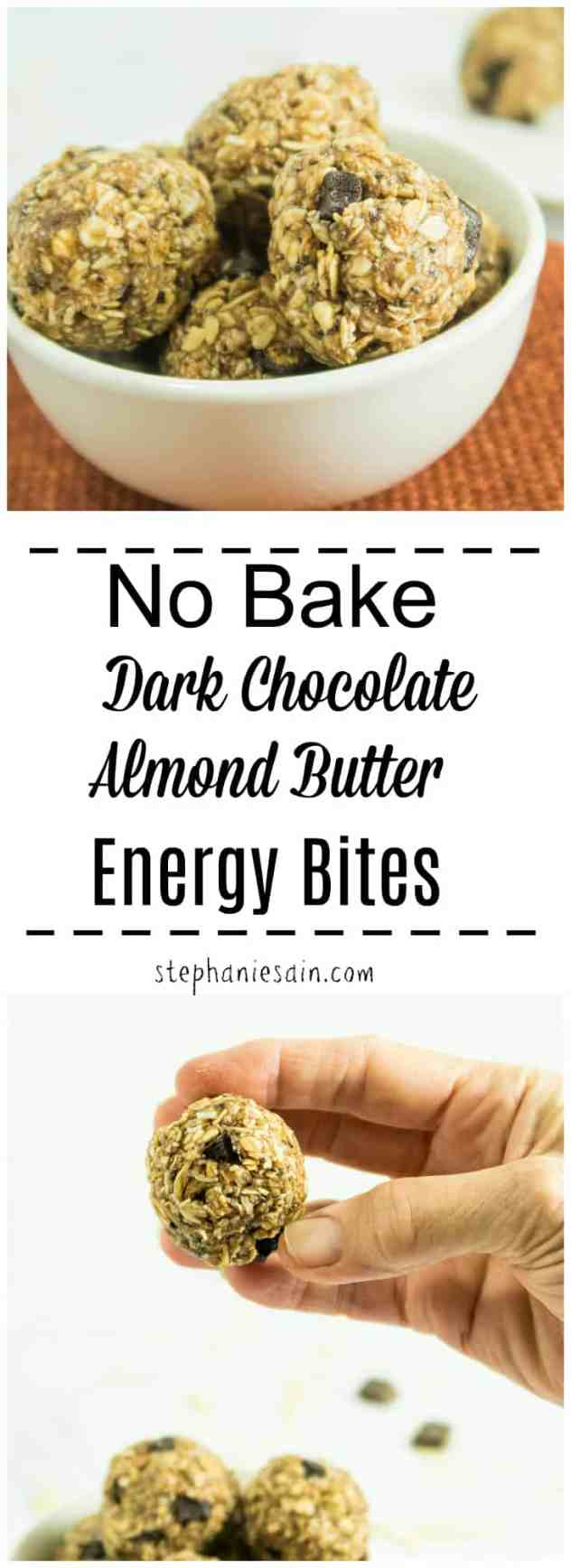 No Bake Dark Chocolate Almond Butter Energy Bites are the perfect, tasty, little portable snack. Less than 10 ingredients required and made in one bowl. Both Vegan & Gluten Free.
