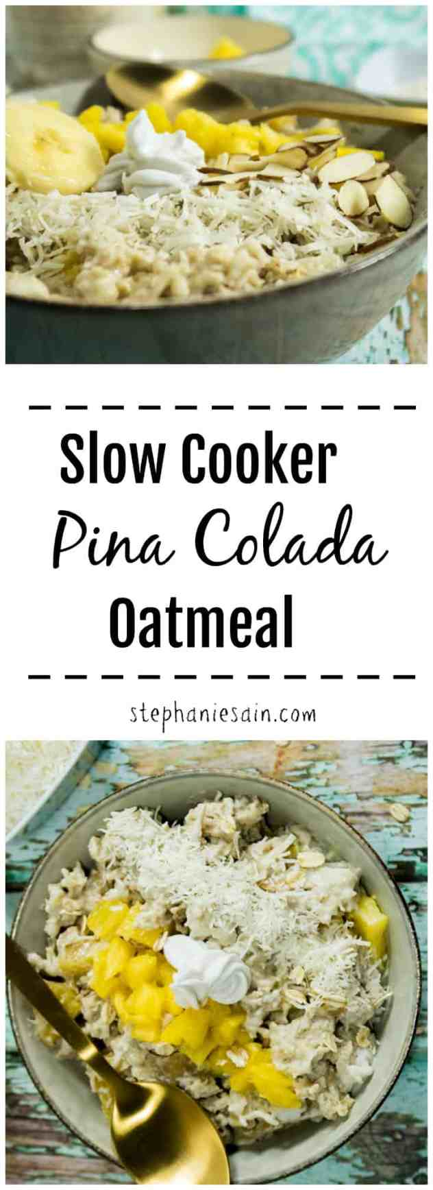 Slow Cooker Pina Colada Oatmeal is an easy, tasty make ahead breakfast. Bursting with tropical flavors and aroma for a great way to start your day. Vegan and Gluten Free.