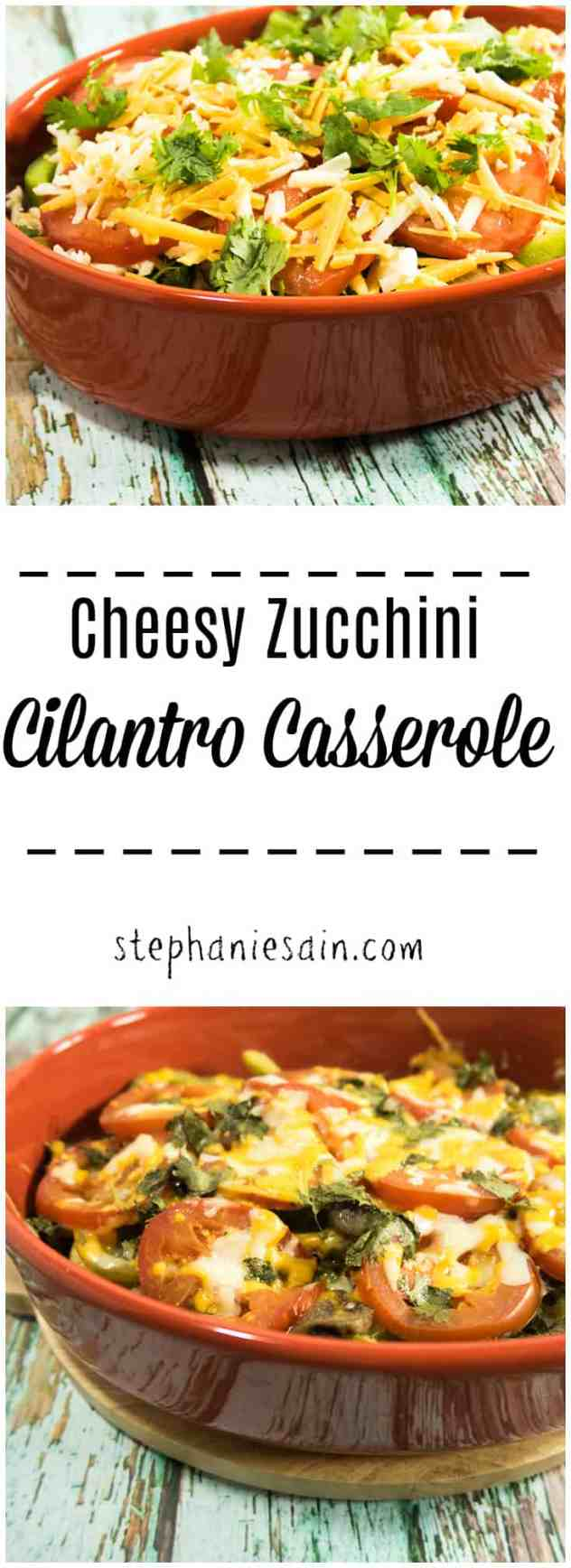 This Cheesy Zucchini Cilantro Casserole is an easy to prepare family friendly dinner perfect for any night of the week. Zucchini, cheese & fresh cilantro are the stars of this casserole. Gluten free & Vegetarian.