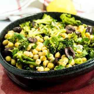 Lemony Roasted Broccoli Chickpea Salad