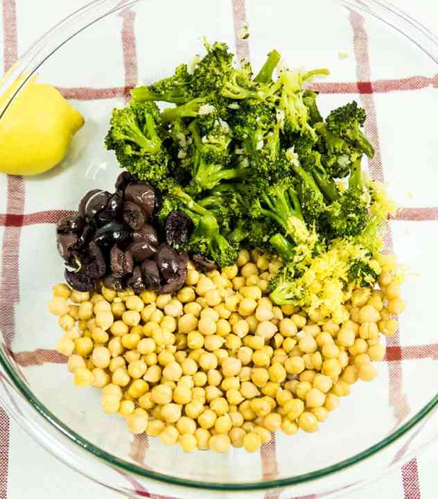 Lemony Roasted Broccoli Chickpea Salad
