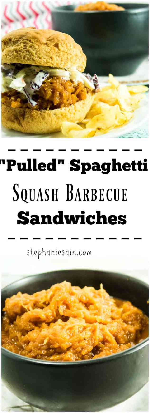 """Pulled"" Spaghetti Squash Barbecue Sandwiches are a tasty, vegetarian or vegan option for your next cookout. Slow cooked with homemade BBQ sauce and served with your favorite toppings. Gluten free, Vegetarian, and Vegan option."