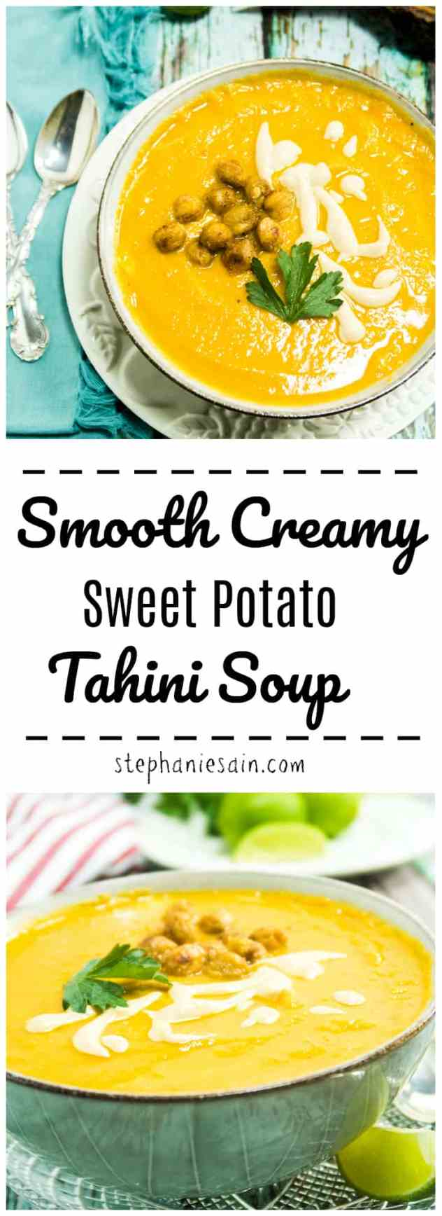 Smooth Creamy Sweet Potato Tahini Soup is slightly sweet & mildly nutty. With all the flavors of Fall it's the perfect soup for cool evenings. Vegan & Gluten Free.