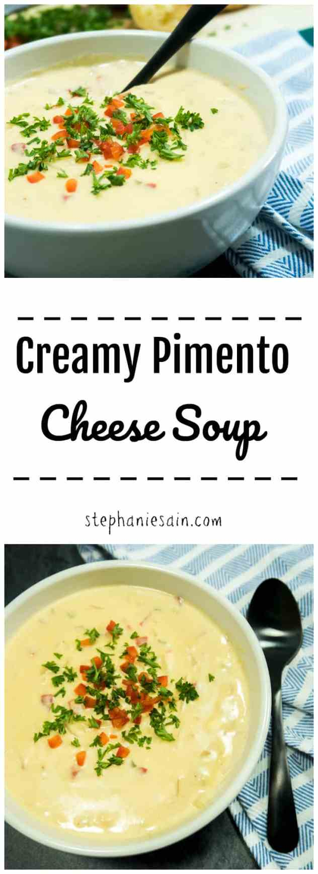 Creamy Pimento Cheese Soup is a thick, velvety smooth soup loaded with cheesy goodness & pimentos. Quick & Easy dinner the whole family will love. Vegetarian & Gluten Free.
