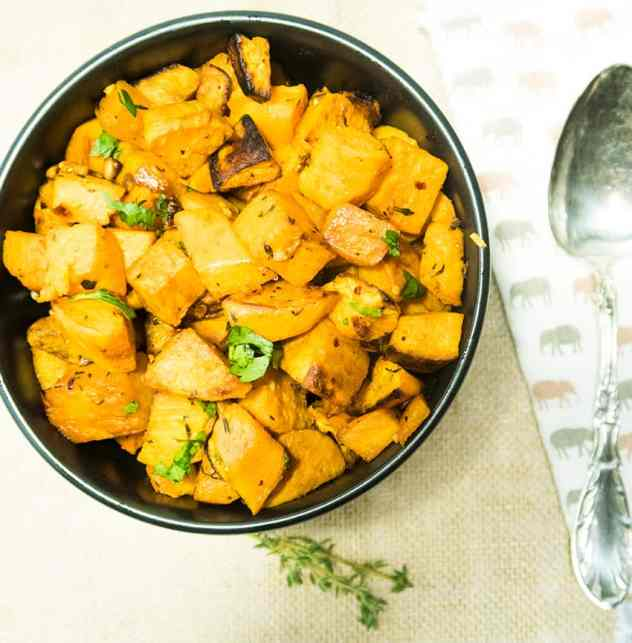 Garlic Herb Roasted Sweet Potatoes