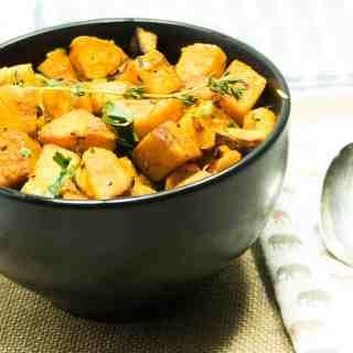 Garlic Herb Roasted Sweet Potato Bites