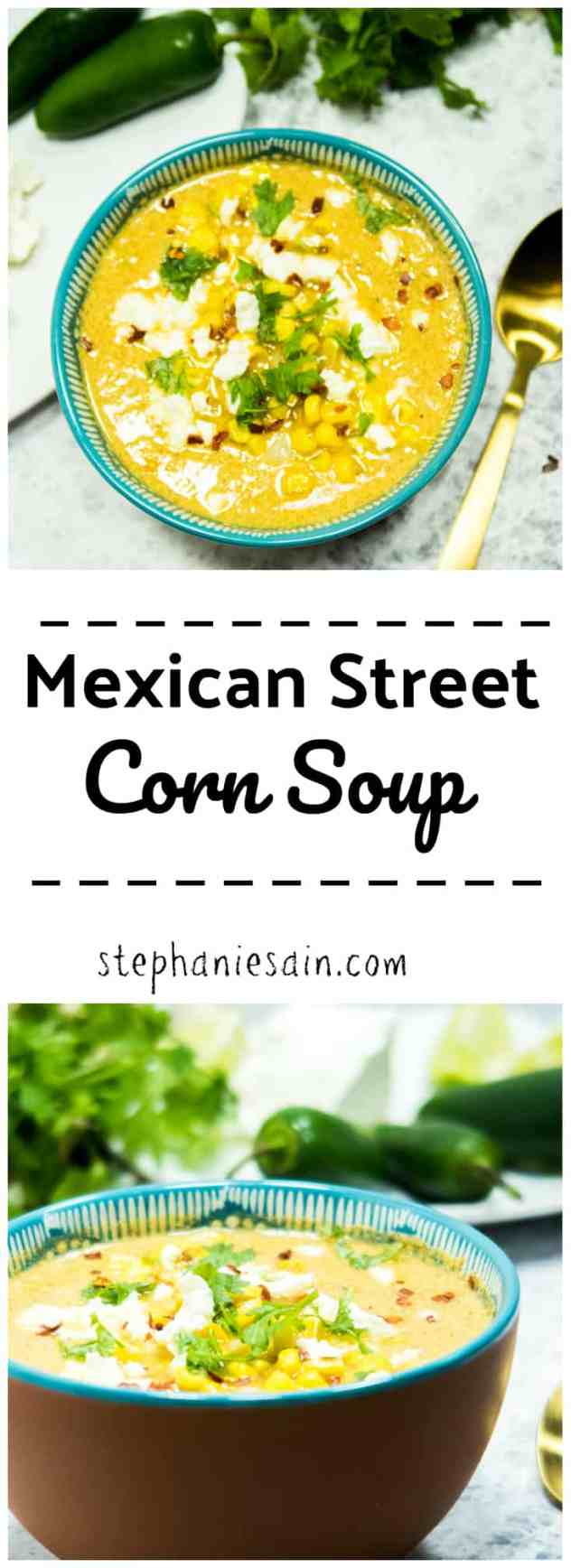 Mexican Street Corn Soup is a great way to enjoy the flavors of Mexican Street Corn in a warm cozy bowl of soup. Gluten free & Vegetarian.