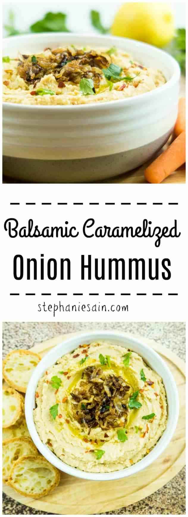 Balsamic Caramelized Onion Hummus is sweet, savory, and velvety smooth. Hummus & caramelized onions blended together for the perfect flavor combination. Perfect for appetizer, snacks or anytime. Gluten free & Vegan option.