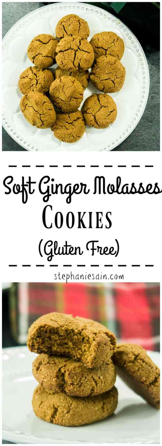 Soft Ginger Molasses Cookies are perfectly spiced, chewy, & soft. Fragrant ginger & cinnamon will have your home smelling amazing & just like the Holidays. No Added Refined Sugars, Gluten Free, & Easily made Vegan.