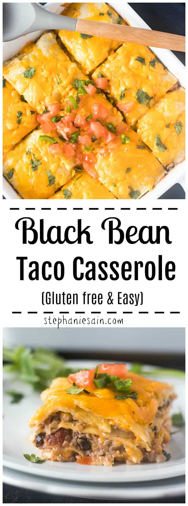This Taco Casserole is made with black beans, corn, and taco seasonings for an easy tasty one pan dinner. Layered tortillas between taco filling and topped with cheese. Gluten Free, Vegetarian, Easy