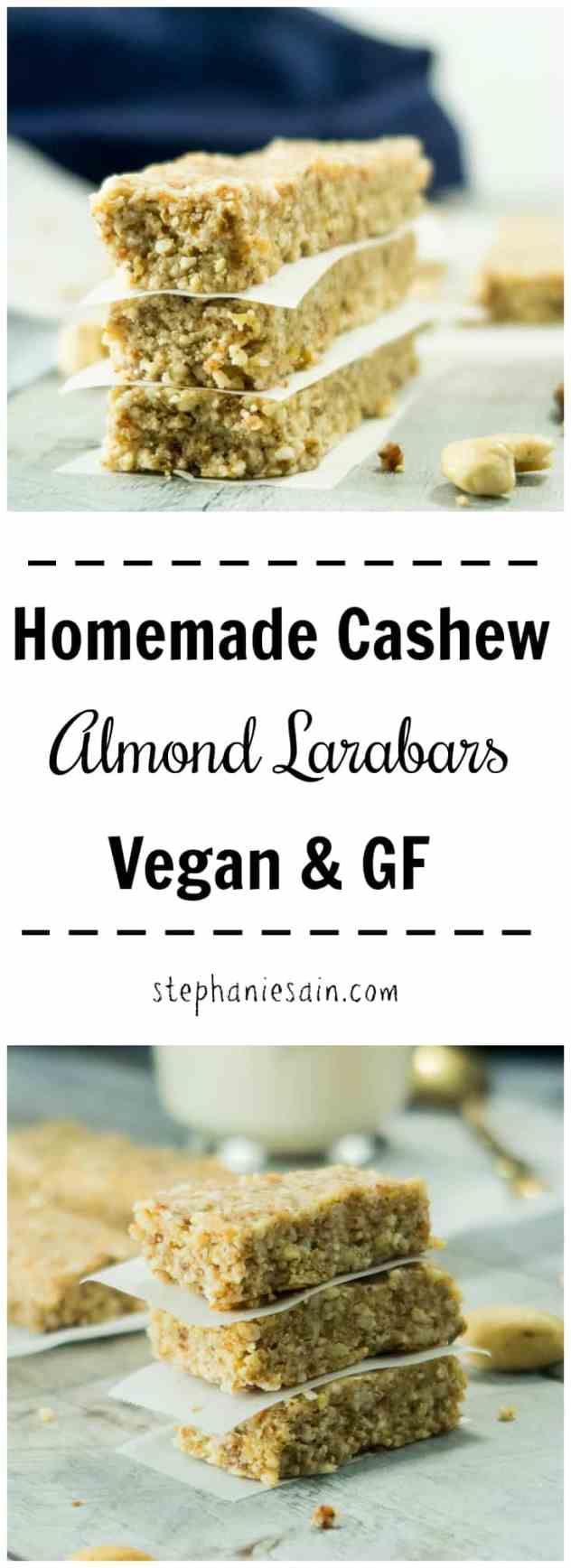 These Homemade Cashew Almond Larabars require Only six ingredients and 5 minutes prep. Great for breakfast or a grab and go snack. Made with real food ingredients and no added refined sugars. Vegan & Gluten Free.