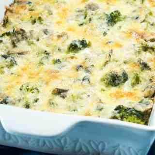 Cheesy Broccoli Mushroom Quinoa Bake