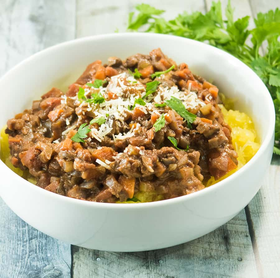 Hearty Spaghetti Squash Vegetarian Bolognese