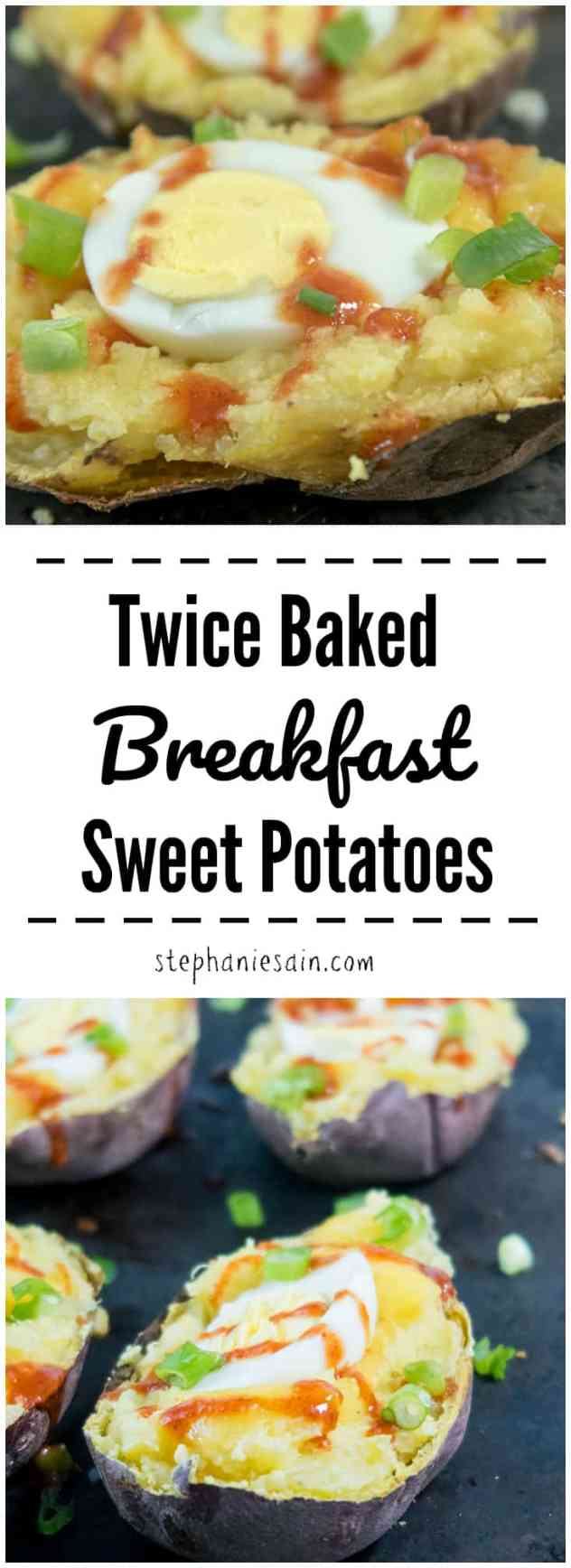 These Twice Baked Breakfast Sweet Potatoes are slightly sweet, smoky and perfect for a special breakfast or brunch. Vegetarian & Gluten Free.