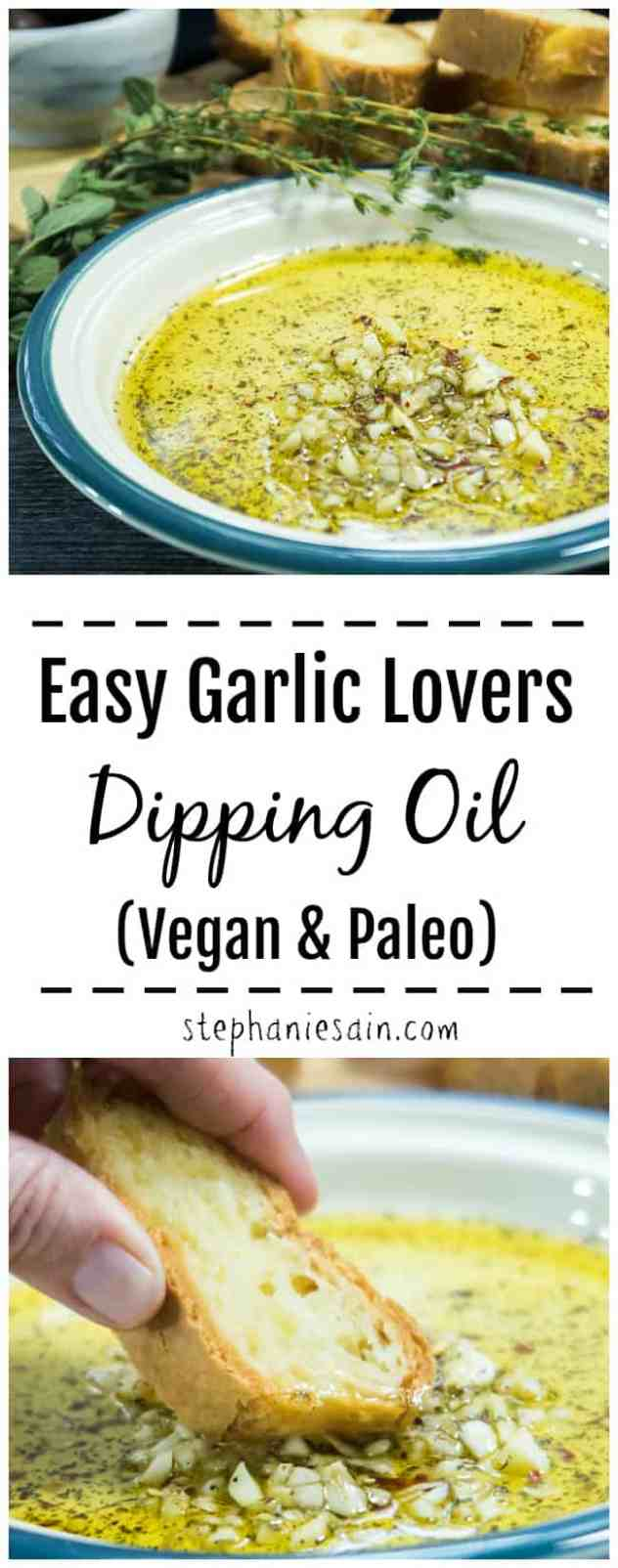 This Easy Garlic Lovers Dipping Oil is super Easy to make in less then 10 minutes. Perfect served with warm crusty bread, topped on pizza and so much more. Makes a super tasty, quick appetizer. Vegan, Paleo, & GF.