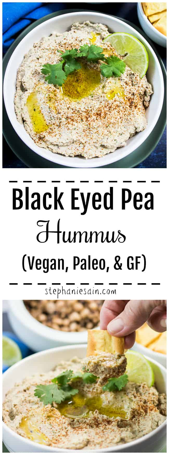 This Black Eyed Pea Hummus is super easy to make, thick, creamy & delicious. The perfect way to switch up hummus & your snacking routine. Great served with crackers, veggies, chips & so much more. Vegan, Paleo, and Gluten Free.
